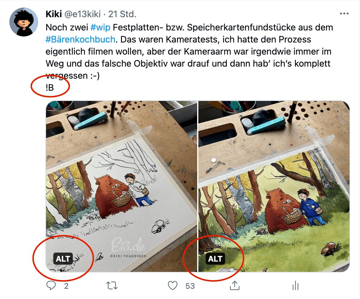 Screenshot meines Tweets mit zwei Bildern, die über Bildbeschreibungen verfügen