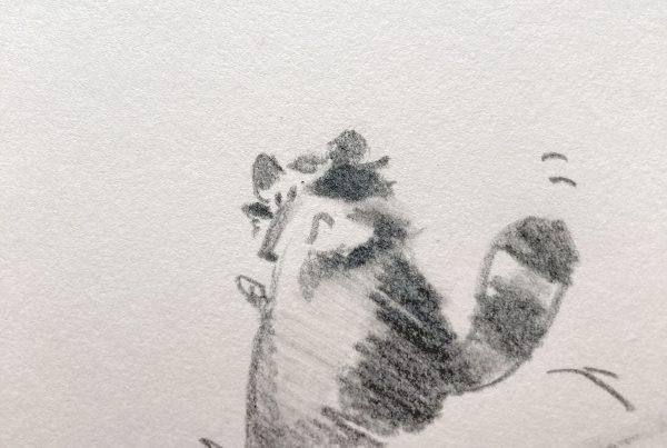 Zeichnunng des Waschbären, der den Abhang hinunterhoppelt